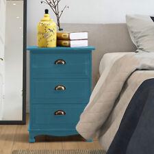 Mediterranean Vintage Bedside Table 3 Drawers Cabinet Storage Solid Wood BLUE
