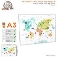 Design 2 A2 A3 Children's Kids Educational School World Map Poster Print