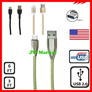 Braided USB C Type-C Fast Charging Data SYNC Charger Cable Cord 3FT 6FT 4FT USA