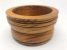 More details for stunning vintage machine made turned wooden bowl fruit pot lathe solid chunky