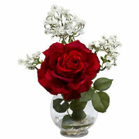 Rose and Gypso with Fluted Vase Silk Flower Arrangement, Red