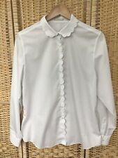 ORVIS 16 White Cream Scallop Hem Blouse Shirt Top Wrinkle Free Cotton Blend