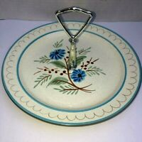 """Stangl Hand Painted Blue Daisy Vintage 10"""" Round Tid Bit Dish Silver-tone Handle"""