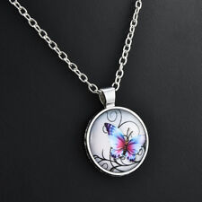 Mystical Butterfly Pendant Necklace Glass Dome Cabochon Statement Chain Necklace