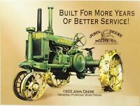 1933 John Deere Moline Tractor Retro Vintage Reproduction Metal Tin Sign