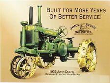 1933 John Deere Moline Tractor Retro Vintage Reproduction Metal Tin Sign