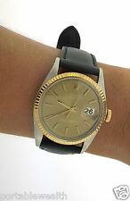 Older Rolex Date Just  Watch 2tone 18k Yelow Gold Stainless 36mm Factory 1603
