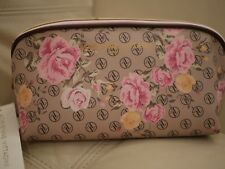NEW WT ADRIENNE VITTADINI COSMETIC MAKE UP BAG PYRAMID BEAUTY LOAF AV FLORAL TAN