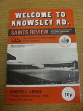 03/11/1978 Rugby League Programme: St Helens v Leigh  (team changes, folded). It