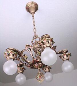 20's Antique Vintage Art Deco Ceiling Light Fixture CHANDELIER