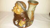 "Vintage Italian Brevettato Pottery Monk Pitcher Decanter Carafe 7"" High"