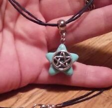 TURQUOISE HOWLITE STONE PENDANT PENTAGRAM BLACK HEMP PAGAN WICCAN WITCH NECKLACE