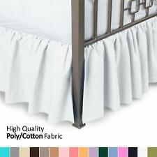 White Ruffled Bed Skirt With Split Corners Twin Bed 21 Inch Drop Bedskirt