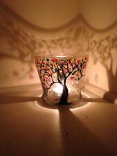 One Candles Holders Glass Vase Hand Painted Full Trees Gift Light Tea Light