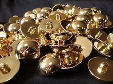 10 X Gold Blazer Manteau boutons doré dôme en dôme tige au dos 25 mm Free p&p