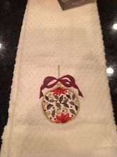 CROSCILL TEA TOWELS (2) IVORY WITH CHRISTMAS ORNAMENT NWT