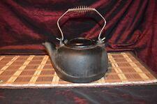 """Vintage Cast Iron Kettle Tea Pot Swivel Lid With Coil Handle 10 1/2""""x10 1/4"""""""