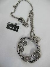 ALISHA D NECKLACE PENDANT MEDALLION SILVER TONE CHAIN HEART WINGS LIONS SHIELDS