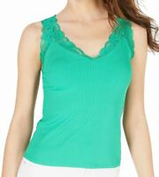 Guess Womens Blouse Classic Green Size Medium M Ribbed Tank Lace Trim $39 042