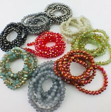 Small Faceted Rondelle Glass Crystal Opaque and AB Beads 4mmx3mm - 148 Beads UK