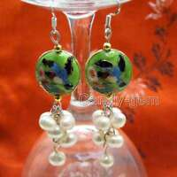 18mm Green Cloisonne & 6-7mm White Round Natural Pearl Dangle Earrings for Women