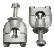 "2x Silver 22mm 7/8"" Handle Bar Riser Mount Clamps For Motorcycle Dirt Bike ATV"