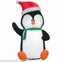 Christmas Airblown Inflatable Penguin 8.5' Fuzzy Plush Blow Up Yard Decor