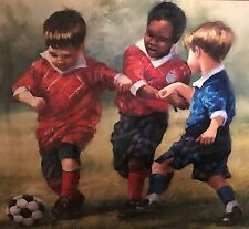Homco Home Interiors Picture Little Boys Soccer Laurie Snow Hein Sports Colorful