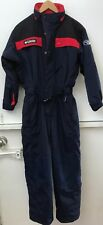 Columbia Ski Suit Snowsuit Waterproof Youth M 10/12 Full Body Navy Blue Red