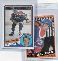1984-85 Topps #51 Wayne Gretzky and #154 Gretzky All Star Edmonton Oilers