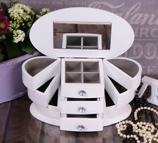 White Wooden Jewellery Box Drawer Case/Cabinet/Trinket Glass Lid #12
