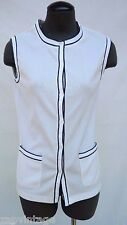 Vintage Women's 1970's White Botton Up Navy Blue Stripe V Neck Vest