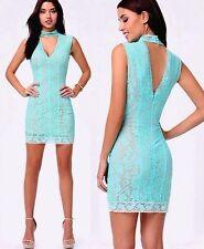NWT bebe turqoise beige blue lace mock neck overlay bodycon top dress M Medium
