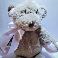 "Cocalo Teddy Bear Baby Plush Brown Tan Pink Bow Lovey 16""  Stuffed Animal"