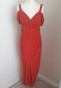 KALEIDOSCOPE Evening Dress * Red Cold Shoulder * Stretch Ruche Tummy Panel * 14