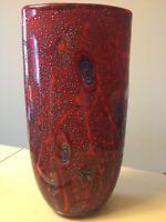 "Murano Style Red 12"" Glass Vase"