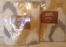 West Elm 2 Ikat Diamond Cotton Cnvas Curtains Horseradish & Grey Two (2) 48x63