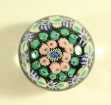 Vintage Murano Art Glass Millefiori Strahthearn Paperweight in Blue, Green, Pink