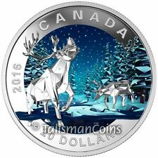 Canada 2016 Geometry in Art #3 Mother Caribou with Baby Calf $20 Silver Proof
