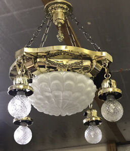 Antique Vtg Chandelier Victorian Art Deco Hanging 5 Light Ornate Brass & Glass