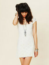 "NWOT- Free People ""Daisy Godet"" Floral Eyelet Lace Tea Dress in Ivory White- L"