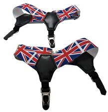 PAIR MENS SOCK SUSPENDERS GARTER HOLD UP BRACES ELASTIC CLIP UNION JACK BRITISH
