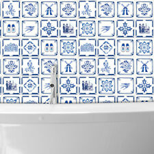 Walplus Decals Dutch Blue Tiles Wall Stickers - 15 cm x 15 cm - 24 pcs.