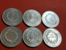Lot 6 pièces argent 50 Francs Hercule an 1974 / 75 / 76 / 77 / 78 / 79 Lot n° 10