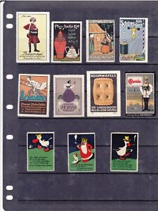 POSTER STAMPS, A COLLECTION OF 11 GERMAN ADVERTISING LABELS