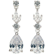 Long drop dangly clear sparkly stud earrings quality bridal jewellery UK seller