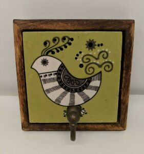 Ceramic Wall Hook Tile in Wood Frame, Retro 70's  Bird Design, Robe Towel Leash