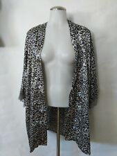Frederick's of Hollywood Kimono Robe Size Medium Animal Print Gray Black Pockets