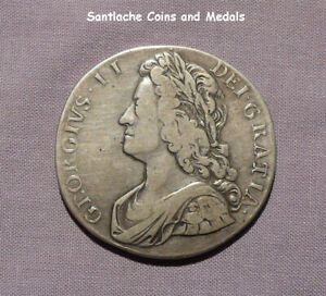 1736 KING GEORGE II SILVER CROWN - ROSES AND PLUMES - SCARCE COIN