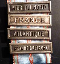 Ruban médaille commémorative 1939 1945, 4 agrafes, MER DU NORD ATLANTIQUE FR. GB